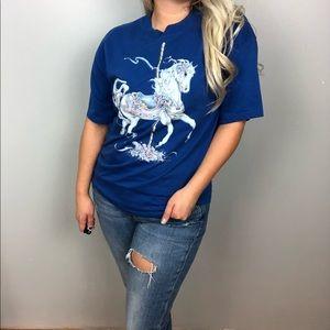 Unicorn graphic blue shortsleeve shirt Sz M